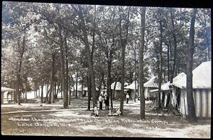 LAKE GENEVA WI~1900's Young Men's Christian Association Camp~Tents~ RPPC