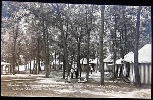 LAKE GENEVA WI~1900's Young Men's Christian Association Camp~Tents~ RPPC