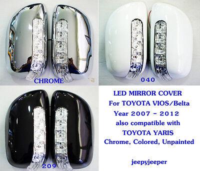 LED MIRROR COVER TOYOTA VIOS Yaris Sedan Belta 2007 - 2012 Chrome 040 209 218 @R
