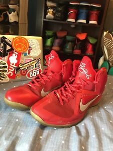 new concept 786e5 90499 Image is loading Nike-Lebron-IX-9-Sport-Red-Reflective-Silver-