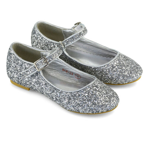 Girls Flat Glitter Bridal Party Shoes Children Kids Bridesmaid Ballet Pumps Size