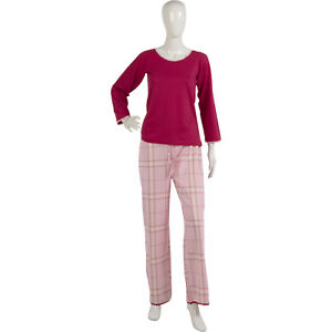 Image is loading Womens-Pyjamas-Long-Sleeved-Jersey-Top-Checked-Trouser- 2ed29062b