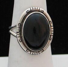 Navajo Indian Ring Black Onyx Size 8-1/2 Sterling Silver Scott Skeets