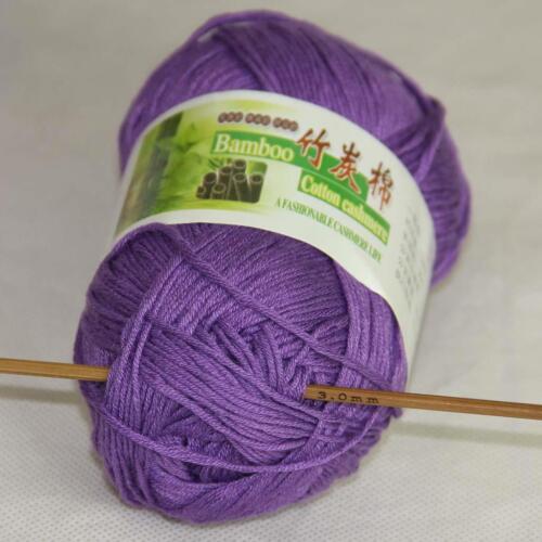 C New 1Ball X 50g Soft Smooth Baby Bamboo Cotton Knitting Yarn DIY Knitwear 22