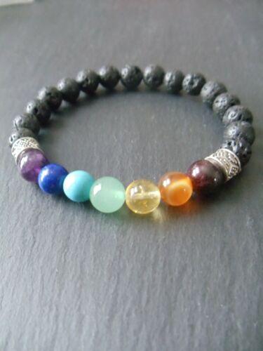 Mens Chakra Bracelet Gemstones Crystals Diffuser Beads Yoga Meditation Gift
