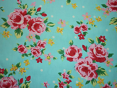 FQ BRIGHT VINTAGE ROSE BLOSSOM FLOWERS FABRIC SHABBY CHIC KITSCH BLUE