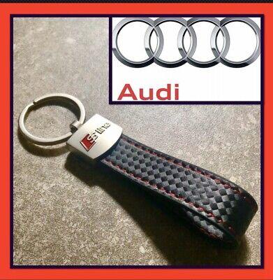 Audi A5 Model Black Leather chrome Keyring  s line quattro