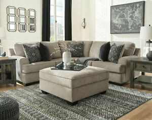 Details about Modern Sectional Living Room Furniture Brown Chenille Sofa  Couch Ottoman Set G0X