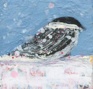 Blue Chickadee Bird Miniature Animal Art Painting Katie Jeanne Wood