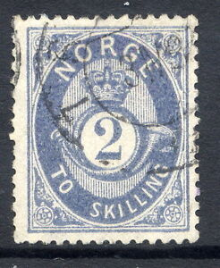 NORWAY-1871-Posthorn-2-sk-grey-blue-fine-used