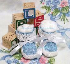 Baby Booties 0-3 Mo Blue White Crochet 100% Cotton Handmade Reborn Dolls