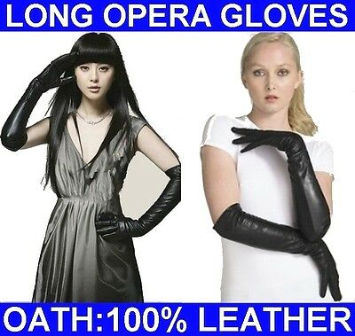 """60CM (23.50"""") WOMEN'S (100% REAL LEATHER) LONG OPERA GLOVES / EVENING GLOVES"""