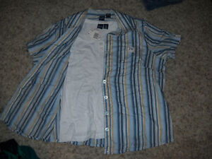 Lovely-NWT-Twinset-White-Tank-Top-amp-Blue-Striped-Blouse-Size-1X-Lightweight