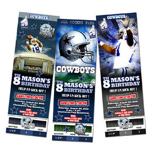 Dallas cowboys ticket birthday party invitation football nfl custom image is loading dallas cowboys ticket birthday party invitation football nfl filmwisefo Gallery