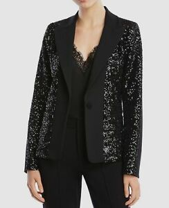 644-Bailey-44-Women-039-s-Black-Brooke-Sequined-Blazer-Peak-Lapel-Jacket-Size-4