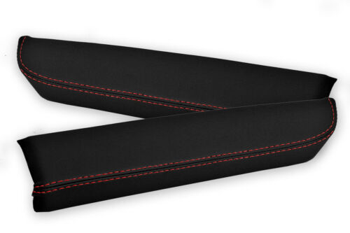 Front Door Armrest Panel Cover 2 Pcs Leather for Nissan 350Z 03-05 Red Stitch
