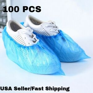 100 PCS Waterproof Boot Covers Disposable Shoe Cover Elastic Protect Overshoes