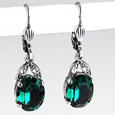 Grevenkämper Ohrringe Swarovski Kristall Silber Oval klein 10 mm grün Emerald