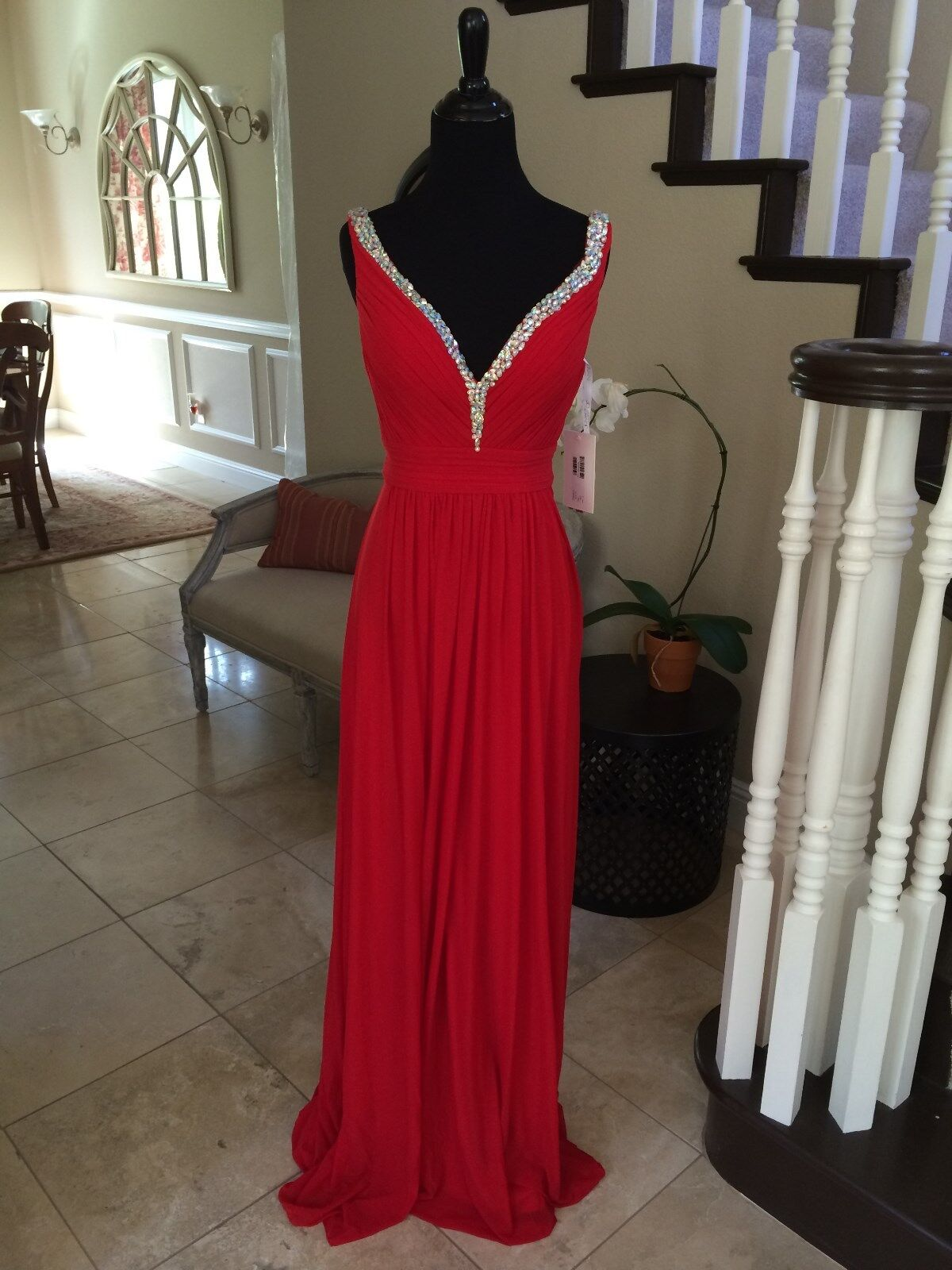 NWT JVN BY JOVANI RED PROM PAGEANT FORMAL DRESS GOWN SIZE 2