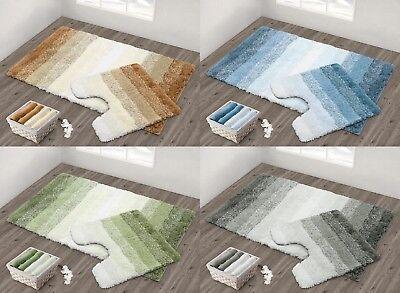 Luxury Quick Dry Non Slip Ombre Stripe Bath Mat & Pedestal Mat Super Soft Exquise Vakmanschap;