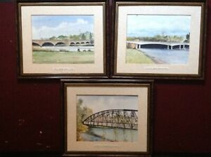 Set-of-3-Contemporary-Watercolour-Paintings-Bridges-Burton-on-Trent