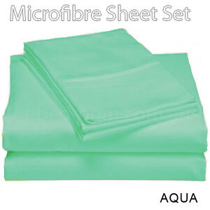 New-Arrival-100-Soft-Microfiber-Double-Bed-Fitted-Flat-Sheets-Set-AQUA