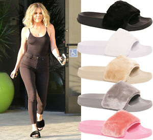 Ladies-Womens-Summer-Celeb-Farrah-Fur-Rubber-Slip-On-Sliders-Mules-Sandals-Shoes