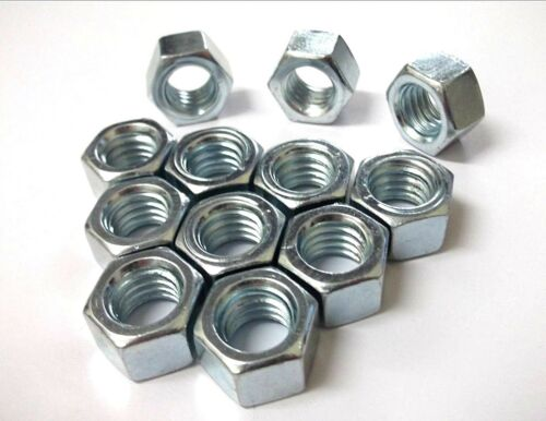 """BZP *Top Quality! Full nuts UNC 1//2/"""" Inches Pack of 6 Hexagon"""