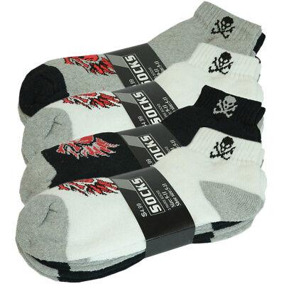 White 3 Pairs Mens Ankle Quarter Crew Athletic Sports Socks Cotton Size 10-13