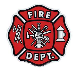 Magnetic-Bumper-Sticker-Fire-Department-Shield-Maltese-Cross-Firefighter