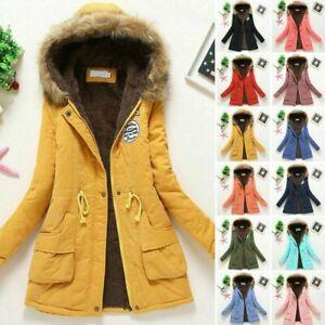 Women's Winter Warm Hooded Coat Windproof Faux Fur Parka Jacket Trench Outwear