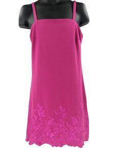 Betsey-Johnson-Women-039-s-Sleeveless-Embroidered-Crepe-Dress-Pink-Size-14