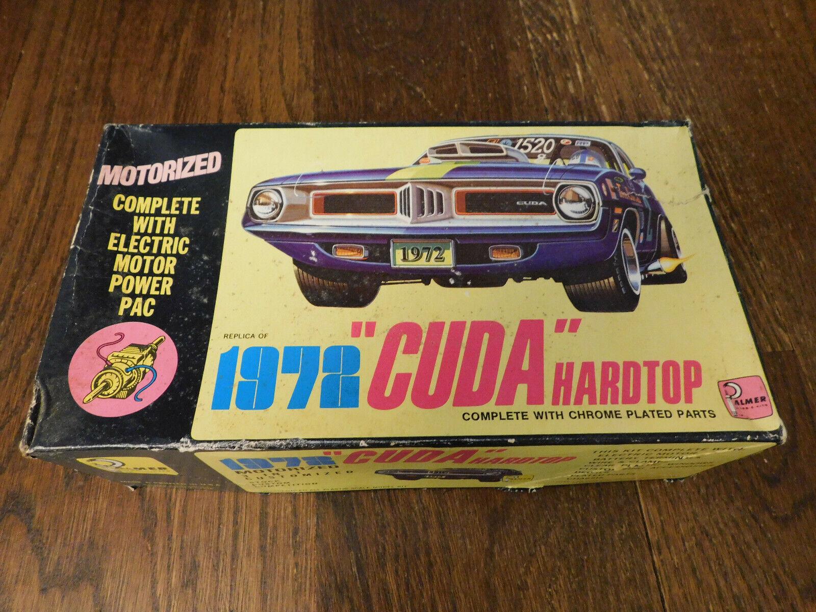Vtg RARE 1972 CUDA Hardtp Plastic Model kit w Electric Motor Pack Palmer