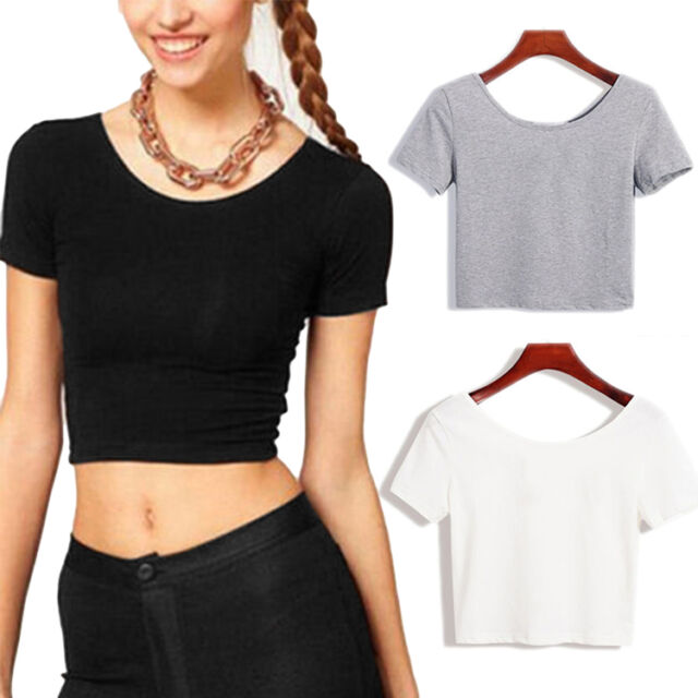New Womens Crop Scoop Neck Short Sleeve Casual Blouse Vest T-Shirt Tops