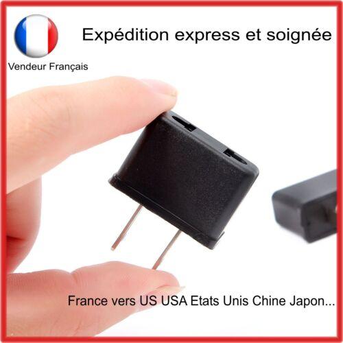 Adaptateur de voyage pour prise électrique française avec 2 fiches vers prise US