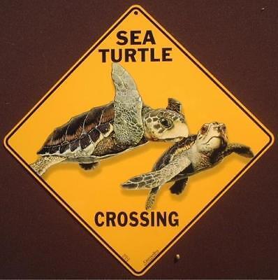 "SEA TURTLES Aluminum Crossing Sign 12/"" on sides 16/"" on diagonal"