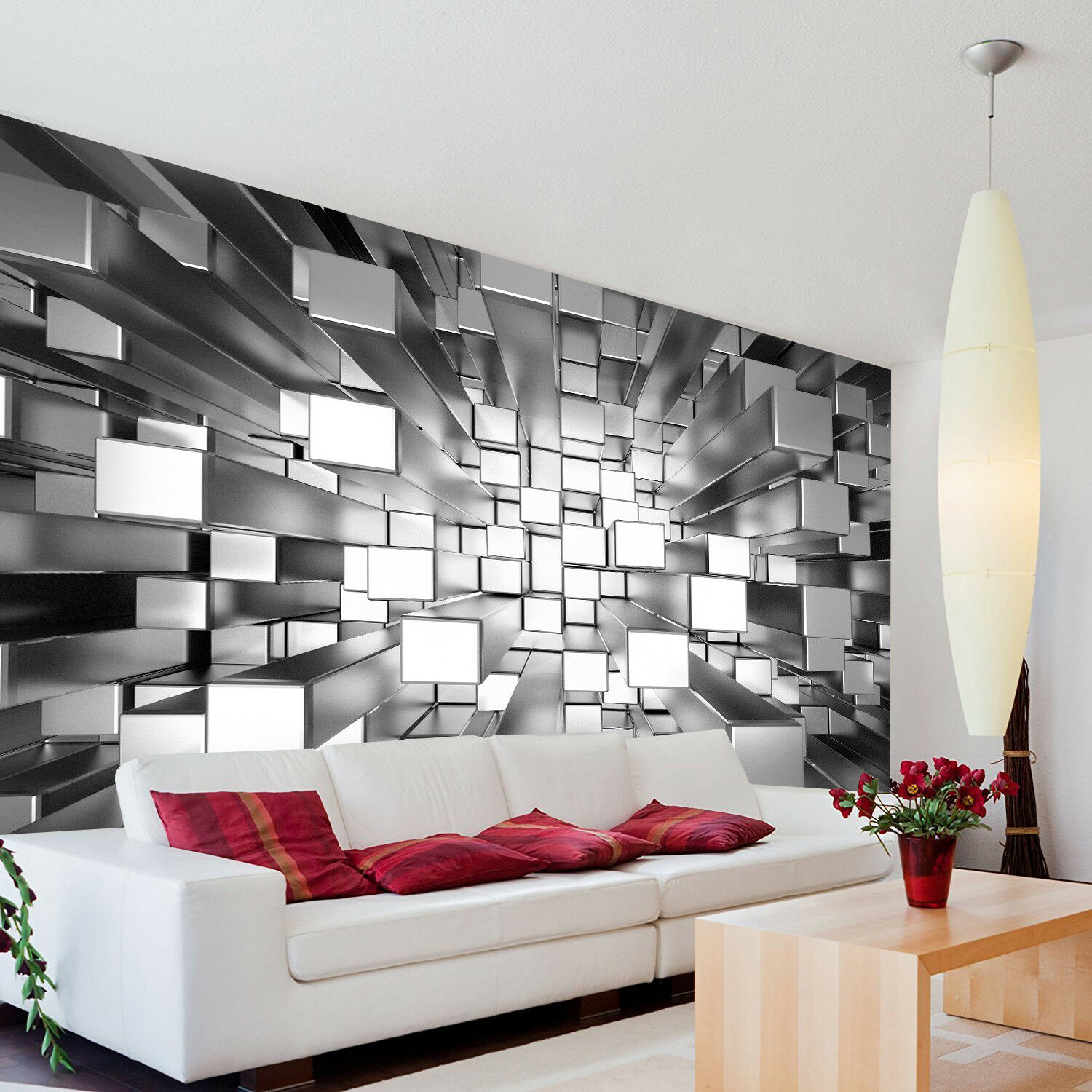 3d Colours Cubes Silver Wallpaper Photo Pattern Wall Mural Home
