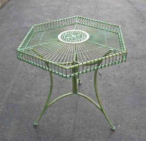Garden Patio Table Hexagon Shaped Antique Green - Iron