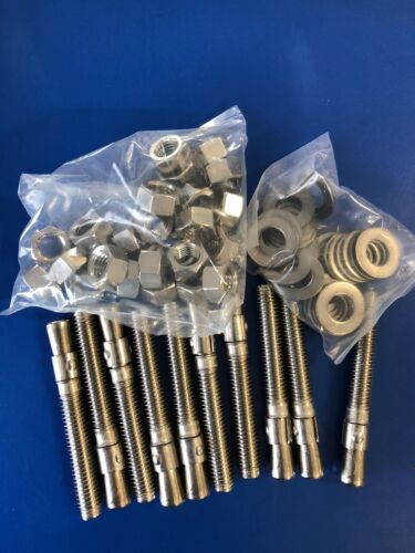 """1//2/"""" x 3-3//4/"""" Concrete Wedge Anchor Stainless Steel GRADE 304 1//2-13  QTY 10"""