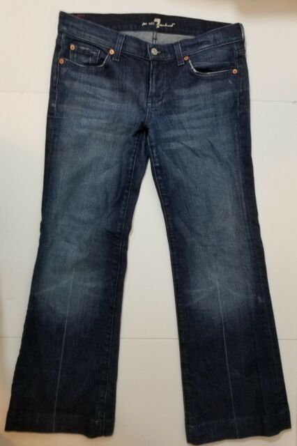 161c81deee2 7 for All Mankind Womens Trouser Jeans Size 30 Blue Wide Leg Dark Wash  Stretch