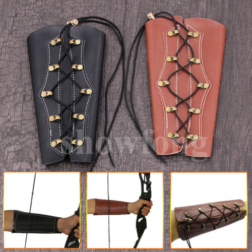 Archery Arm Guard Traditional Cow Leather Bracer for Longbow /& Recurve Bow