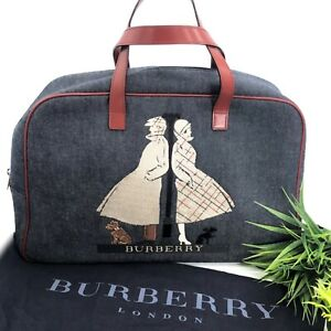 Burberry-Authentic-Vintage-90s-Denim-Embroidered-Satchel-Tote-Bag-Red-Blue-Rare