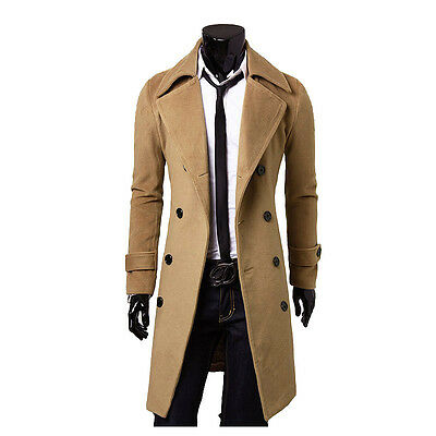 Fashion Trench Coat Winter Mens Slim Stylish Double Breasted Long Jacket Outwear