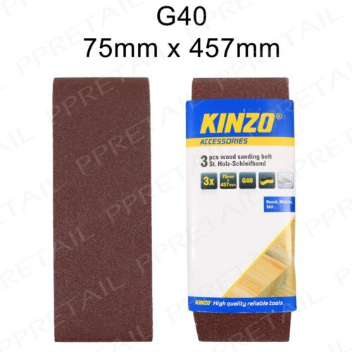 Band Wood Pack 3x GENUINE KINZO 75mm x 457mm Sanding Belt 40 GRIT EXTRA COARSE