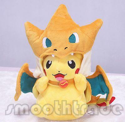 "Pokemon Center Happy Pikachu 8"" Plush Doll (Mega Charizard Y Ver.)  X'mas Gift"