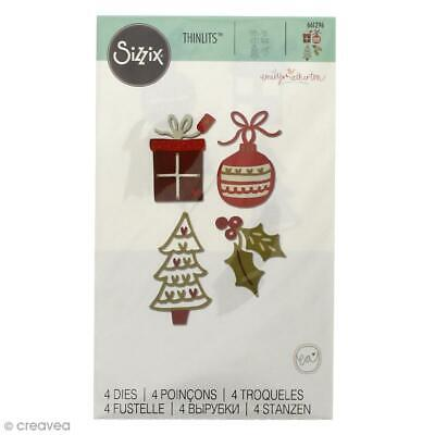 SIZZIX THINLITS FESTIVE FANCIES CHRISTMAS TREE HOLLY PRESENT 4 DIE SET 661296