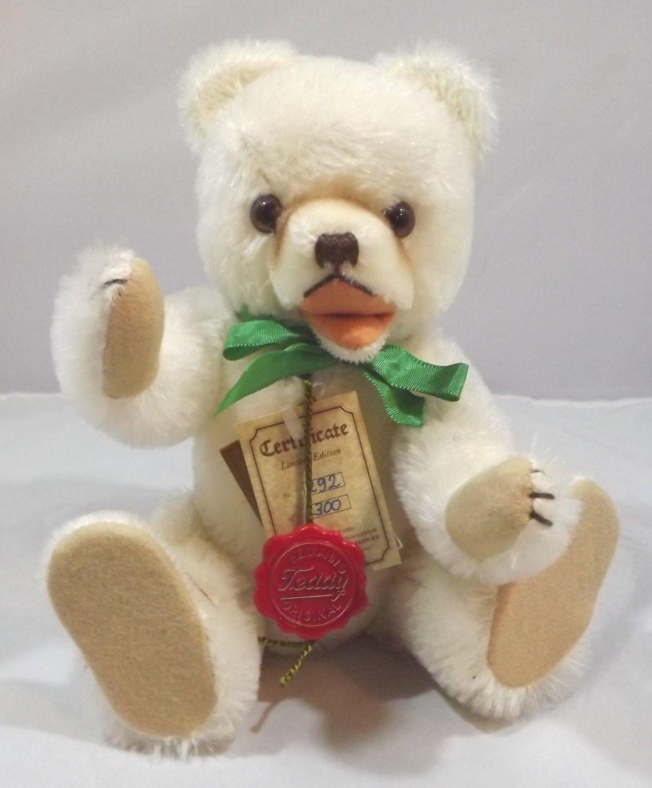 Ltd. Ed. 27cm Hermann German Weiß Mohair Teddy Bear Bear Bear with Open Mouth a03b5b