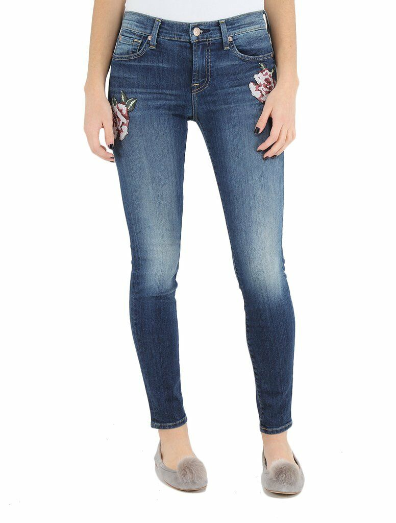 7 For All Mankind THE SKINNY FLOWER PATCH SUPER SKINNY JEANS LIBERTY WASH 28 NWT