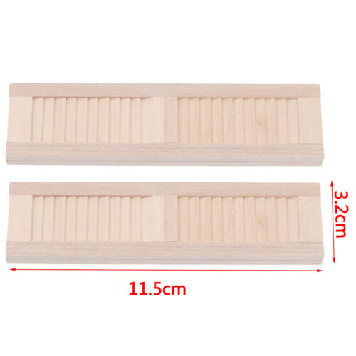 2pcs 1//12 Miniature Dollhouse Wooden Shutters DIY Window Furniture Accessory G4