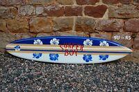Wooden 130cm Surfboard (painted Both Sides) Blue Retro Beach Boy / Su130r5d